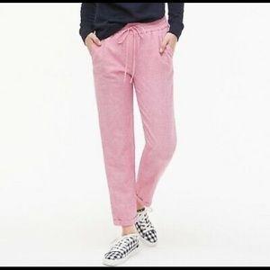 J Crew Linen blend pink drawstring pants